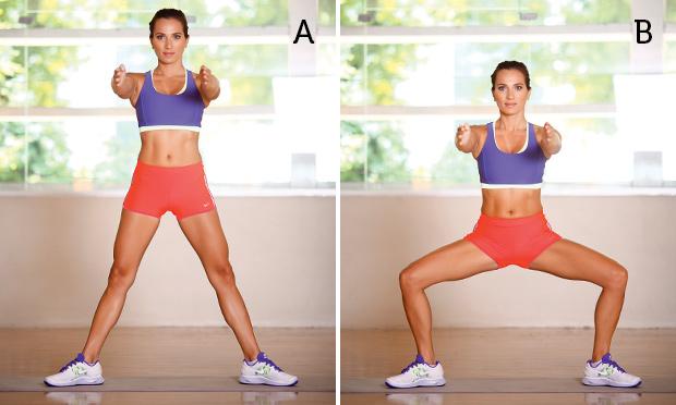 Modelo fazendo exercício agachamento com roupa fitness