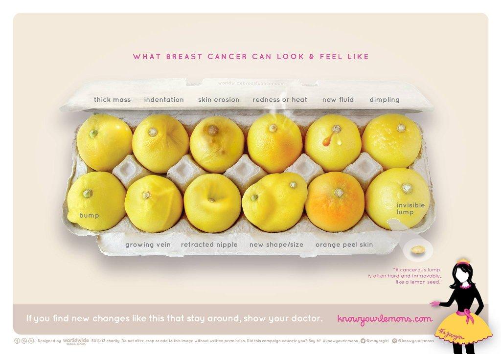 Limões em forma de câncer de mama