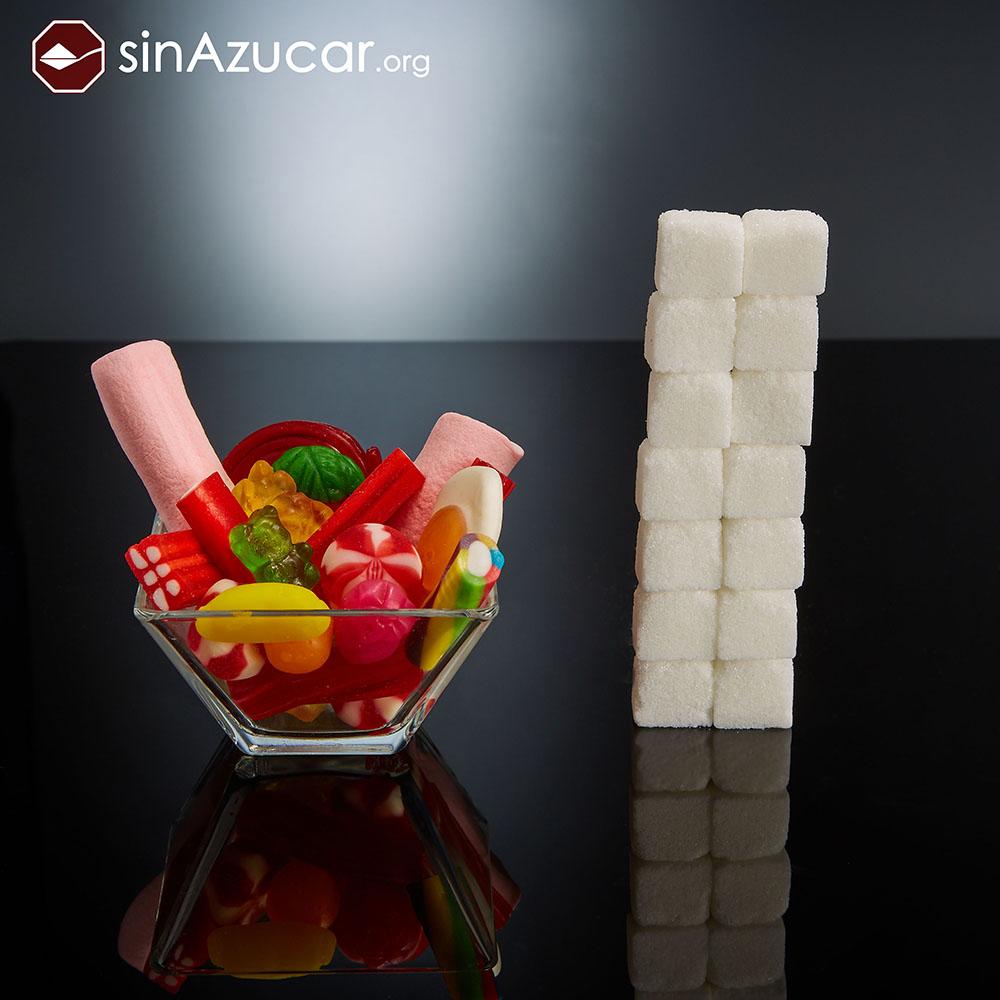 Quantidade de açúcar em balas de goma