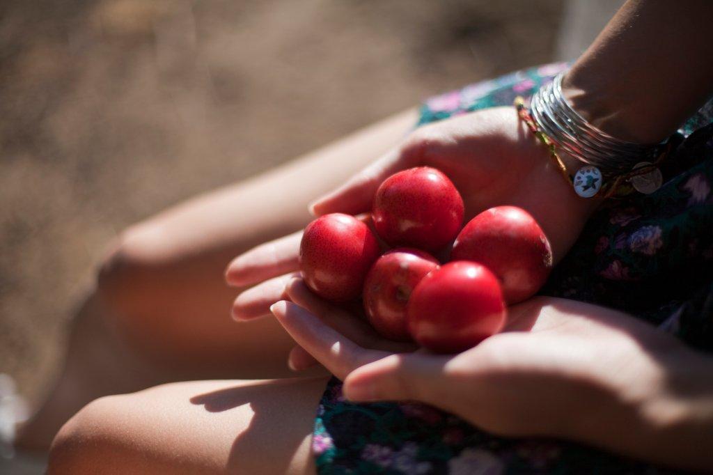 Mulher com frutas na mão