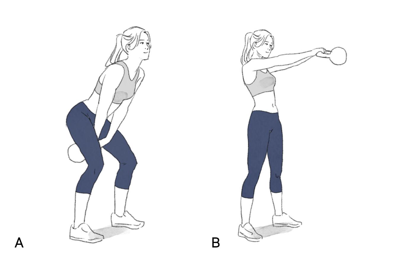 Ilustração de exercício balanço de kettebell