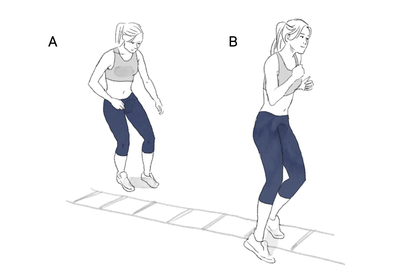 Ilustração exercício escada de coordenação