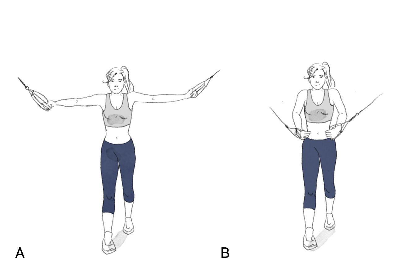 Ilustração exercício peitoral no cross over