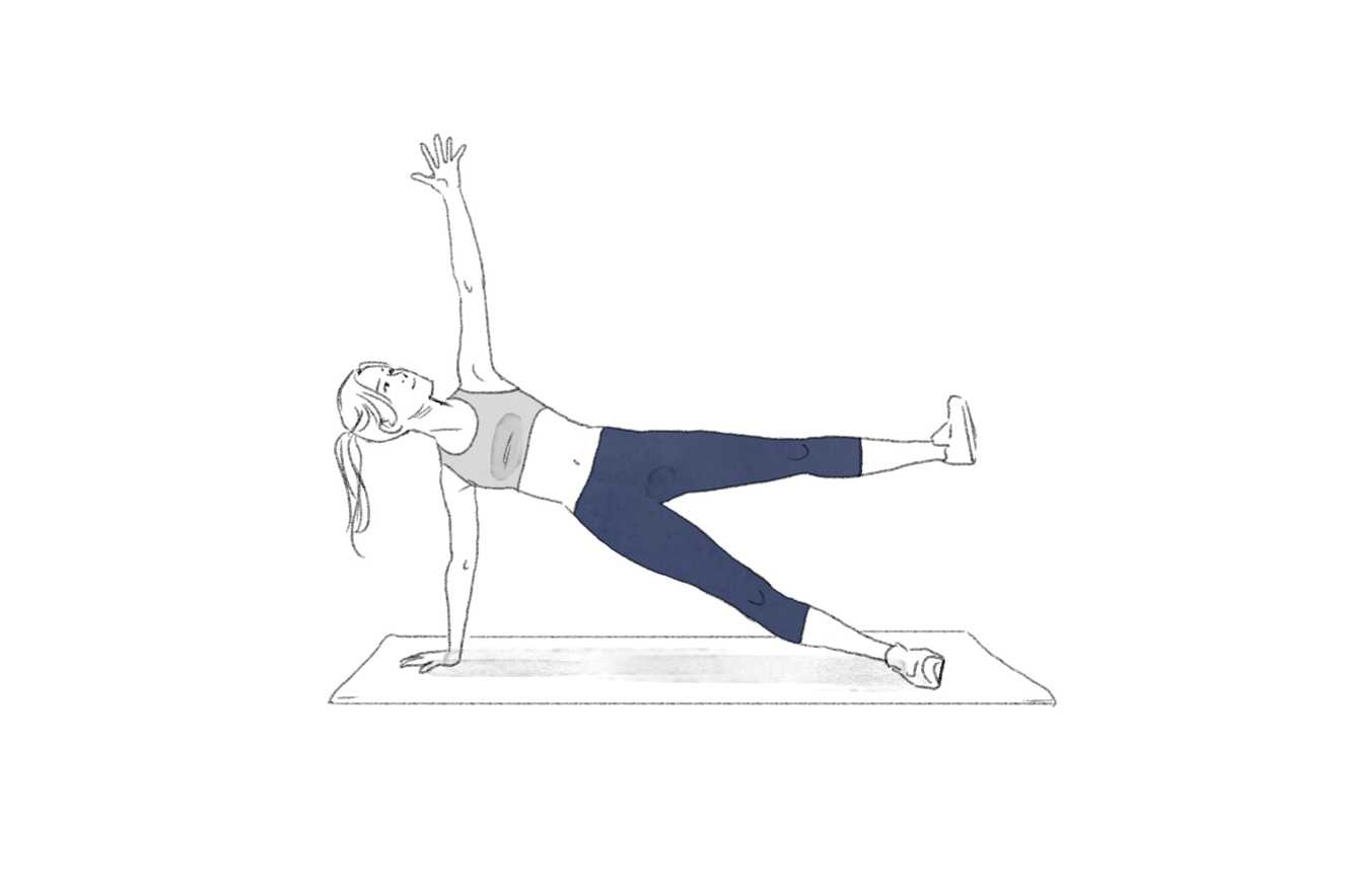 Ilustração exercício prancha lateral