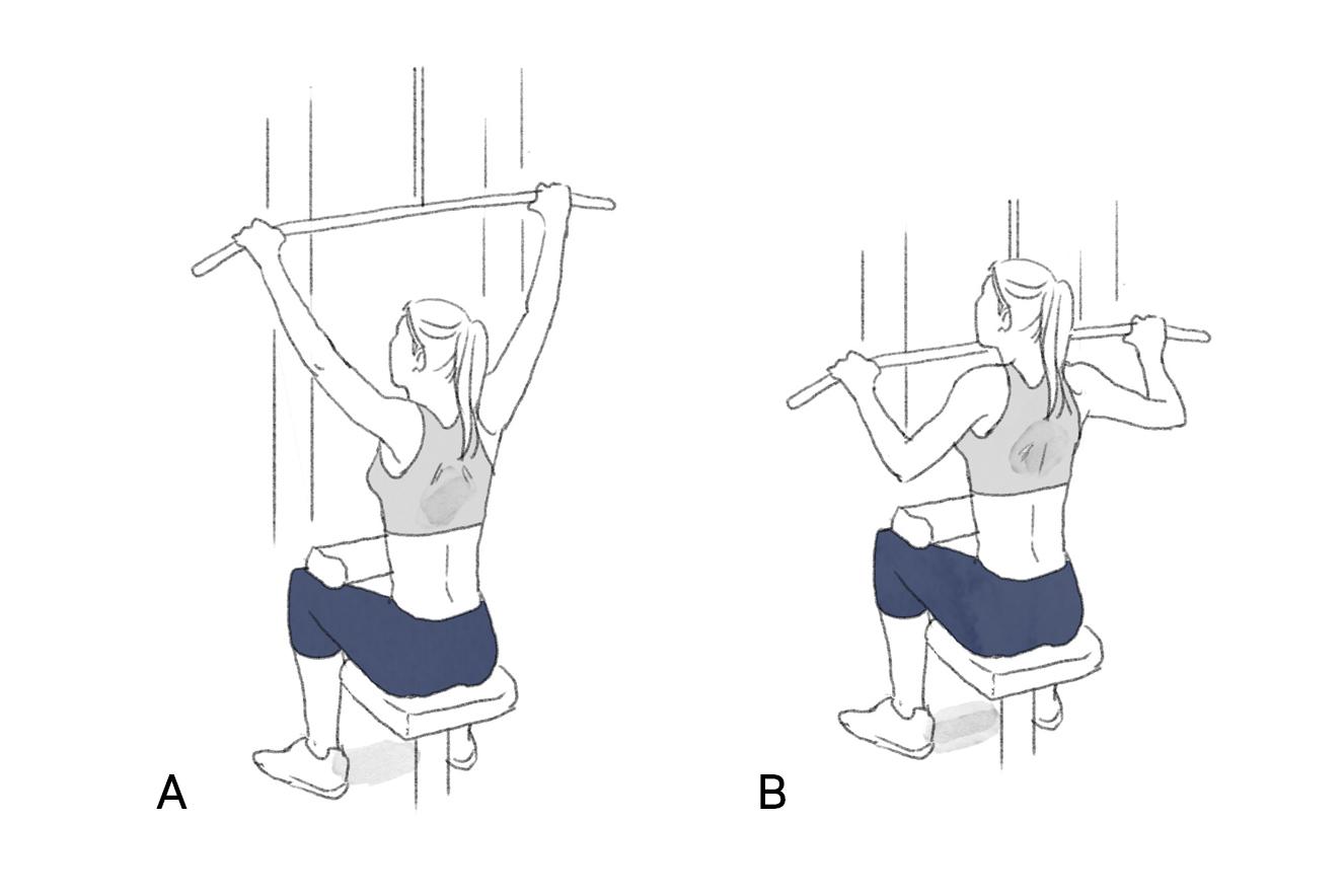 Ilustração exercício puxada aberta na polia