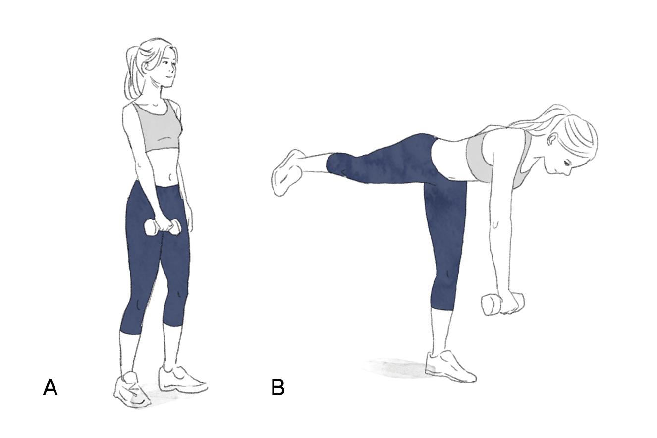 Ilustração do exercício stiff unilateral