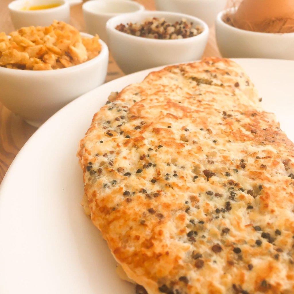 Omelete de frango com clara e quinua