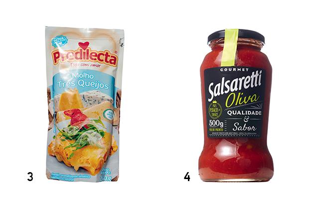 Duas embalagens de molho de tomate das marcas Predilecta e Salsaretti