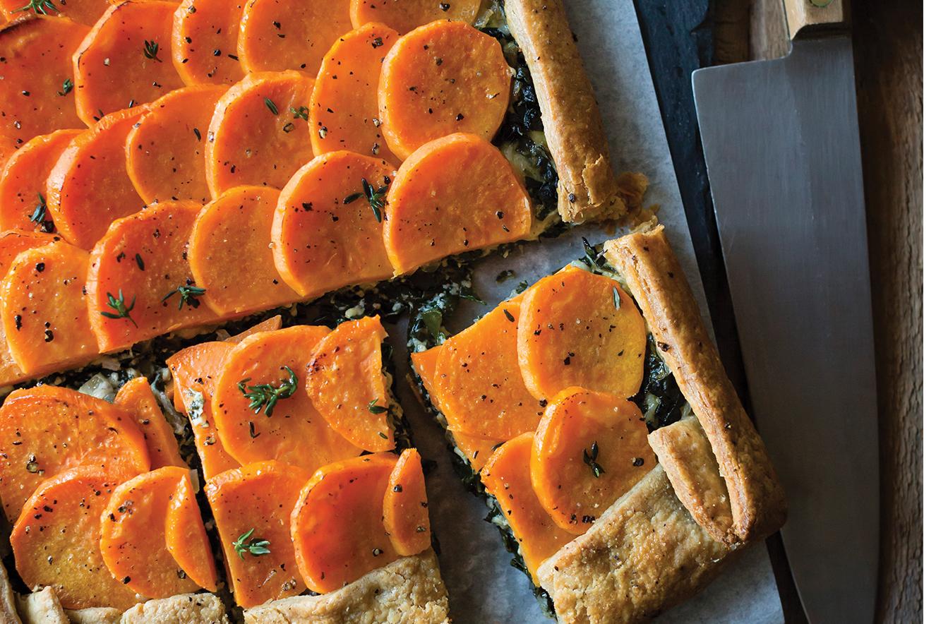 Torta rústica de batata-doce e espinafre