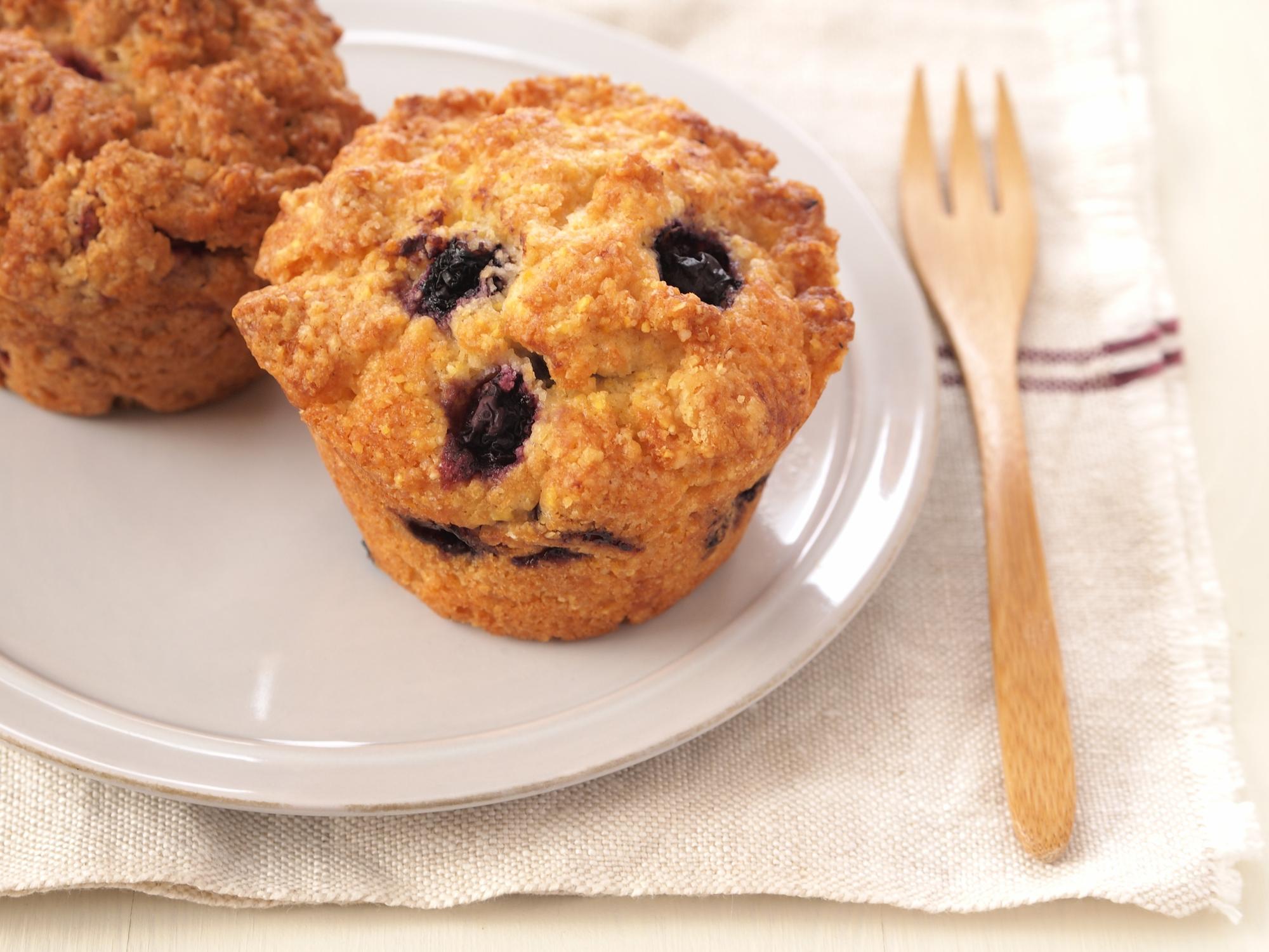 muffin de mirtilo com coco e batata-doce