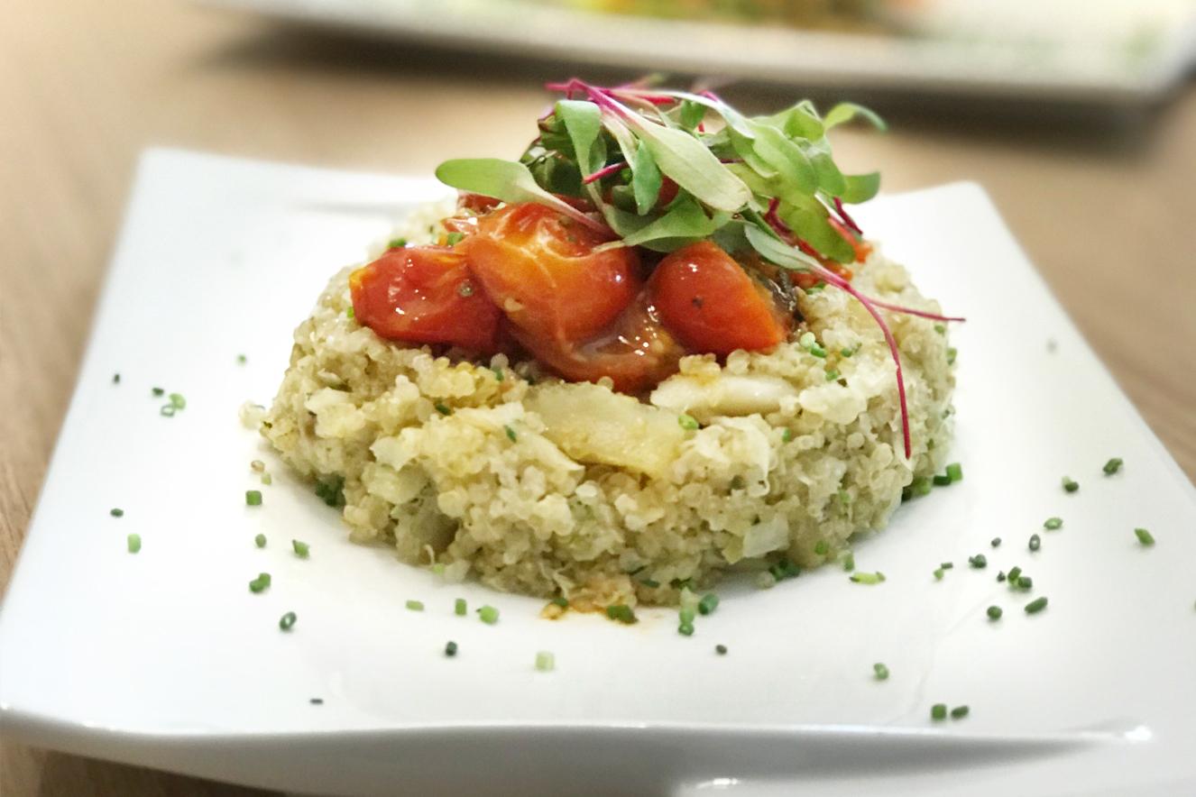 risoto de quinua com bacalhau e confit de tomate trufado
