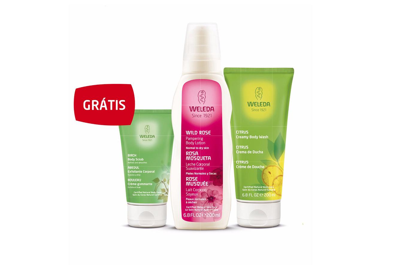 Três produtos da marca Weleda