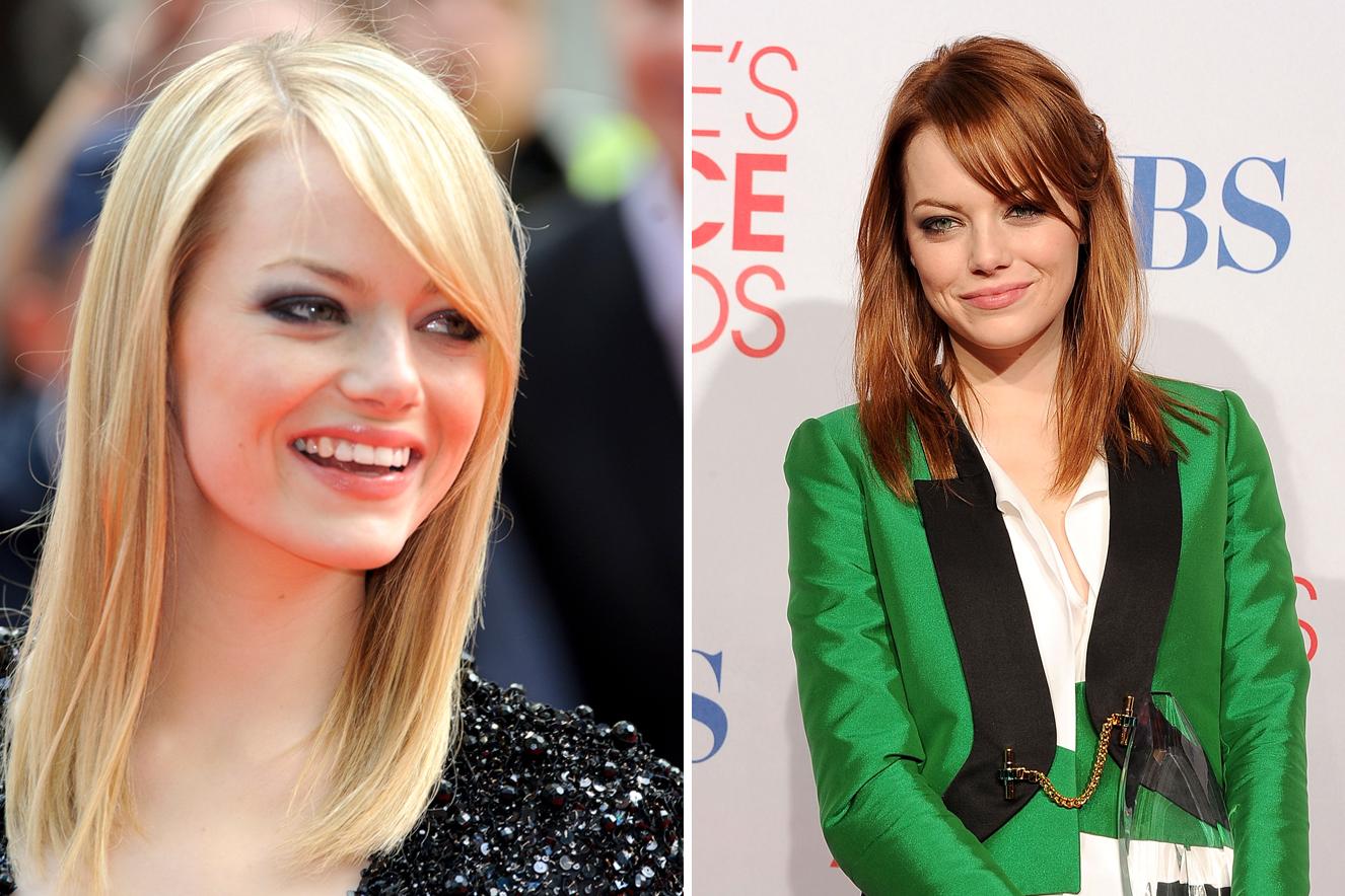Antes e depois do cabelo de Emma Stone
