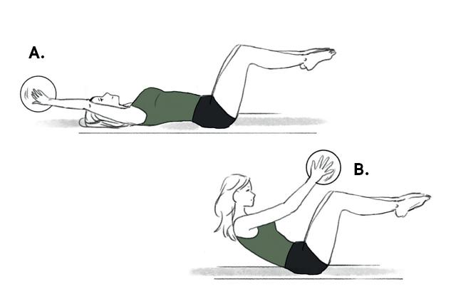 Ilustração com exercício abdominal remador
