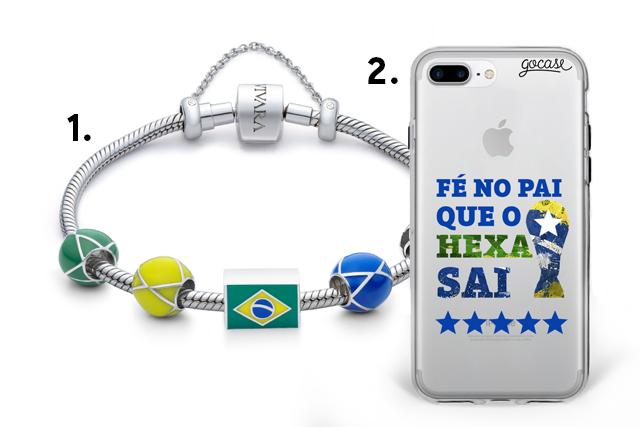 Pulseira Vivara com berloques para Copa do Mundo e case de celular