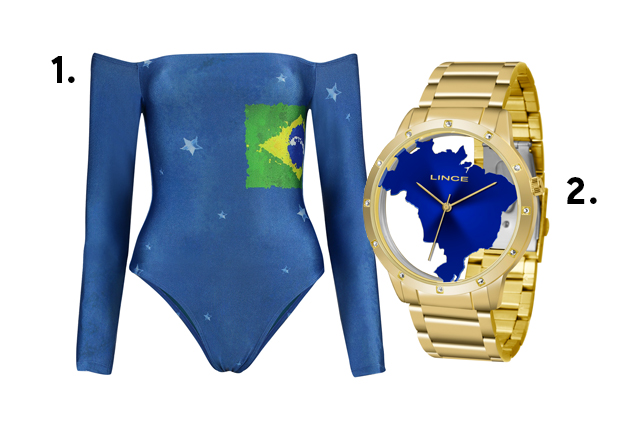 Body para Copa do Mundo e relógio dourado