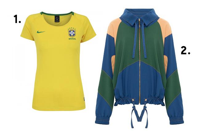 Camiseta feminina da seleção e agasalho com as cores do Brasil