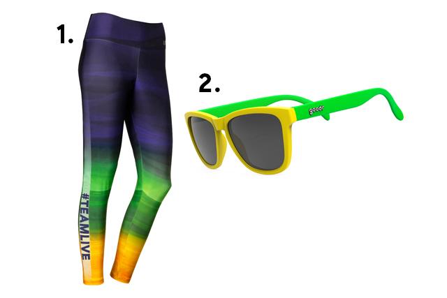 Calça legging Live e óculos escuros com as cores do Brasil