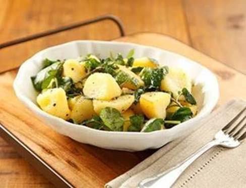 salada de batata morna com agrião