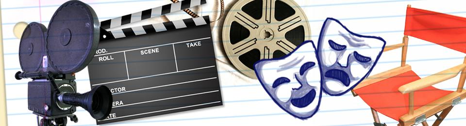 Banner estilizado para o curso de artes cênicas: há uma cadeira de diretor, duas máscaras de teatro, uma câmera antiga, uma claquete e um rolo de filme