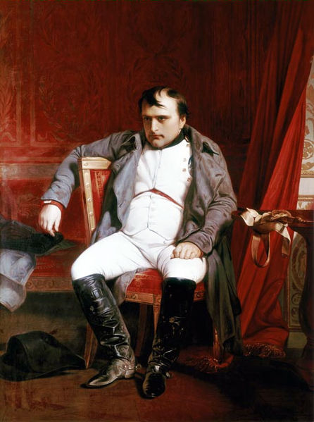 """Quadro de 1845 de Paul Delaroche mostra um Napoleão bem #Chateado (Imagem: """"Napoléon Bonaparte abdica em Fontainebleau""""/Wikimedia Commons)"""