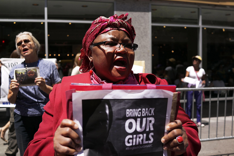 Protesto contra o sequestro das estudantes pelo Boko Haram