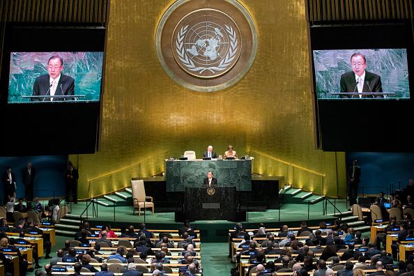 O secretário-geral da ONU, Ban Ki-moon discursa na sede da organização, em Nova York, durante a abertura da Assembleia Geral da ONU, em setembro de 2016 (foto: Drew Angerer/Getty Images)