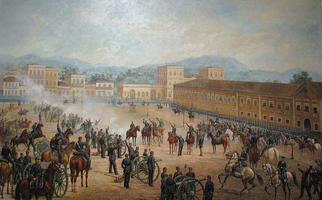 """""""Proclamação da República"""", 1893, óleo sobre tela de Benedito Calixto (1853-1927) (Imagem: Wikipedia Commons)"""