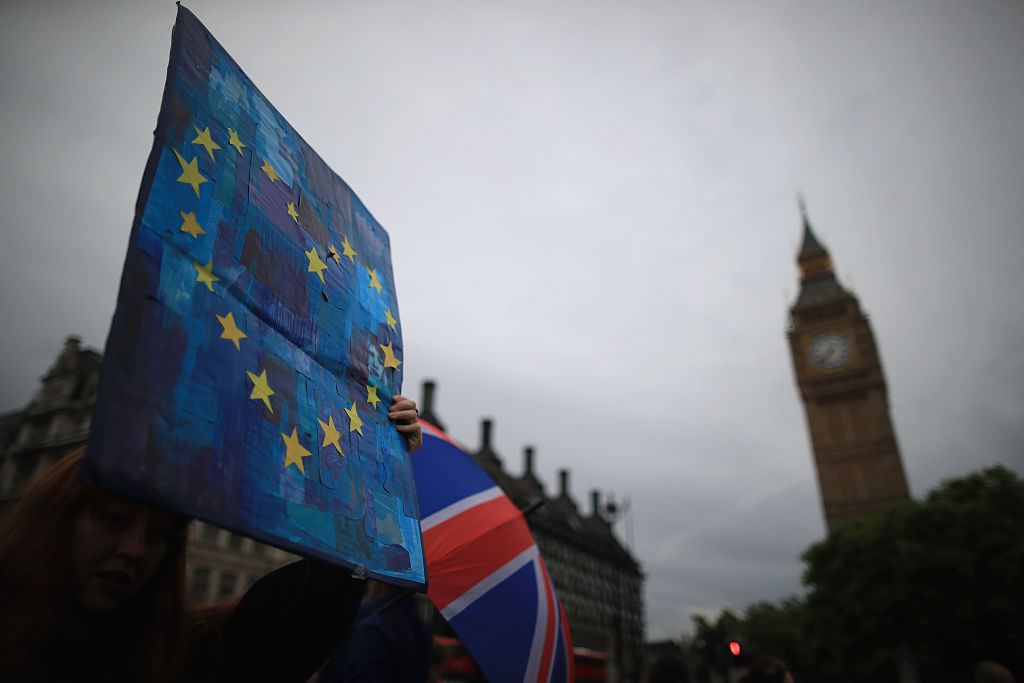 Protesters gather on College Green in front of the Houses of Parliament as they demonstrate against the EU referendum result on June 28, 2016 in London, England. Up to 50,000 people were expected before the event was cancelled due to safety concerns. Early evening up to 2000 people have still convereged on the square and then marched to Parliament to vent their anti-Brexit feelings.