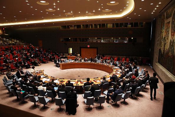 Reunião do Conselho de Segurança da ONU, onde foi discutida a crise humanitária na Síria, em janeiro de 2016 (foto: Spencer Platt/Getty Images)