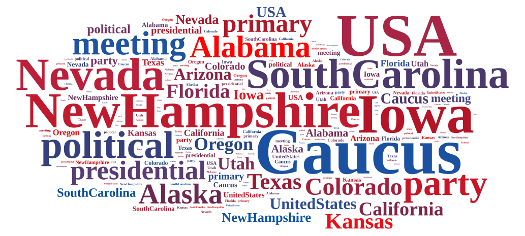 Illustration with word cloud on the Caucus in the US.