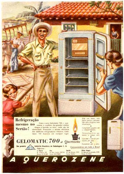 Propaganda da geladeira Gelomatic, veiculada em 1954 (Imagem: Wiki Commons)
