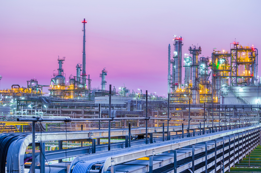 Beautiful of industrial petroleum plant on evening twilight