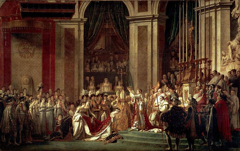 """Para Napoleão, nem o papa era digno de colocar a coroa sobre a sua cabeça (Foto: """"A coroação de Napoleão Bonaparte"""", por Jacques-Louis David/Wikimedia Commons)"""