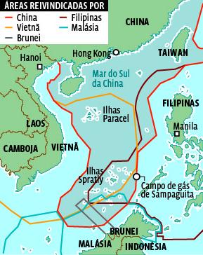 As áreas em disputa no Mar do Sul da China