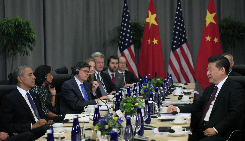 Encontro entre os presidentes dos EUA, Barack Obama, e da China, Xi Jinping, em março de 2016 (foto: Getty Images)
