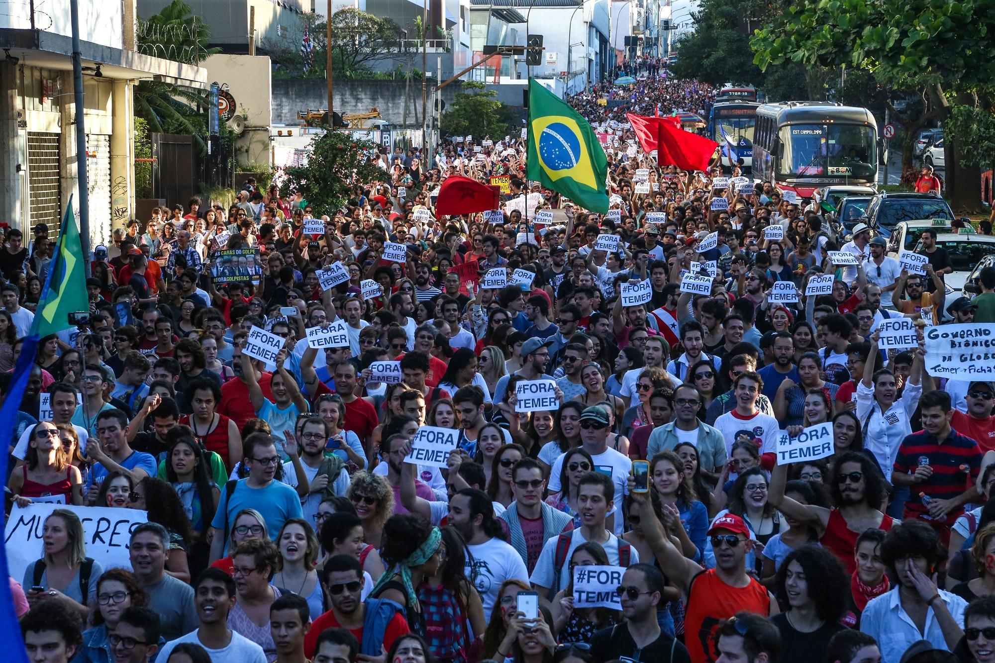São Paulo 15/05/2016 Ato contra Michel Temer na Rua da Consolação . Foto Paulo Pinto/Agencia PT
