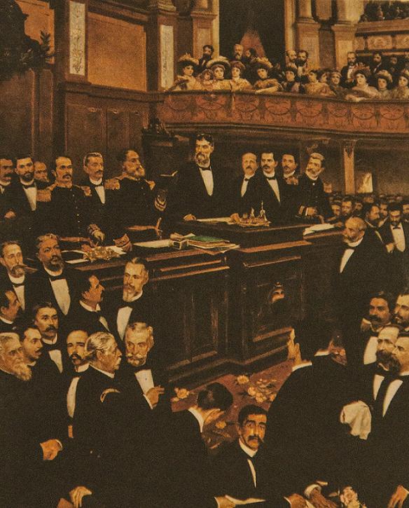 Prudente de Morais, em pé, no centro, foi o primeiro presidente civil do país (foto: reprodução/Museu da República)