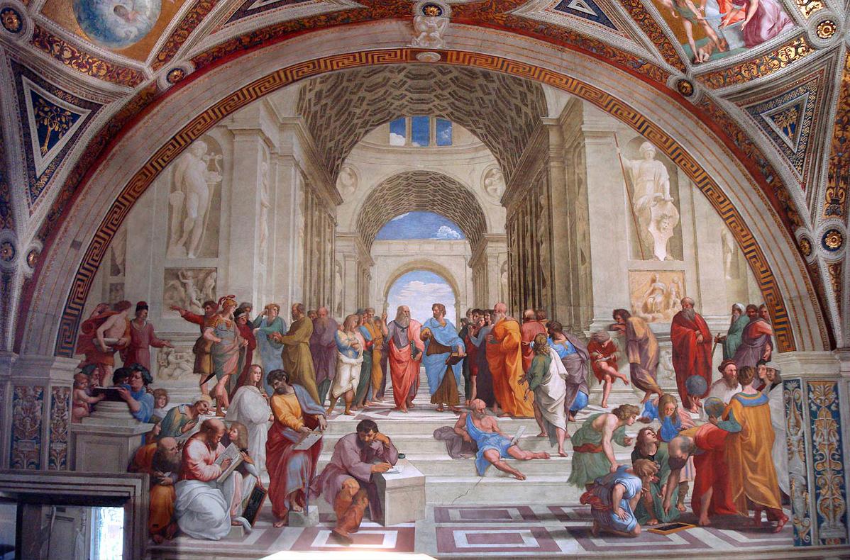 Na pintura de Rafael Sanzio, Platão e Aristóteles aparecem no centro da imagem. Platão, com o dedo apontado para o alto, refere-se ao mundo das ideias, e Aristóteles, à sua direita, refere-se à matéria e à forma.