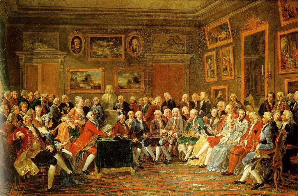 Pintura de Lemonnier mostra leitura de uma obra de Voltaire no Salão Madame Geoffrin, na França