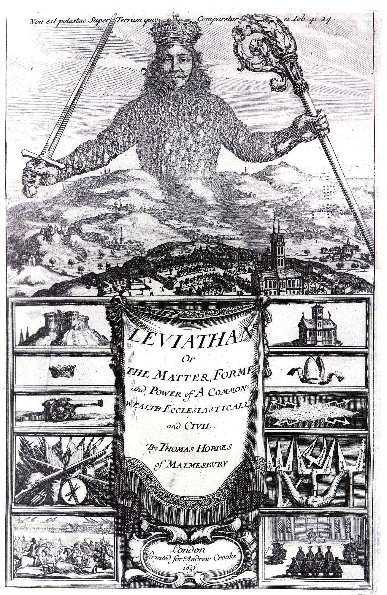 Capa da edição original do Leviatã (1651)